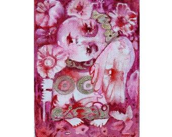 Angel folk art painting, angel art, canvas art, mini art gift, fantasy angel, mixed media angel art, angel gift