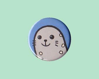 Seal Badge - seal pin, seal button, cute grey seal, kid's button, children's badge, cute button