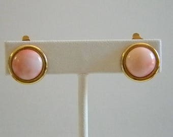 Vintage Milky Pink Glass Round Clip On Earrings