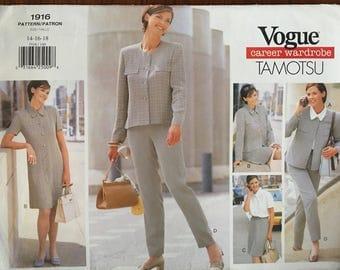 Tamotsu Vogue 1916  Career Wardrobe Sewing Pattern in Size 14 16 18  Wardrobe Separates, Jacket, Dress, Top, Skirt, Pants
