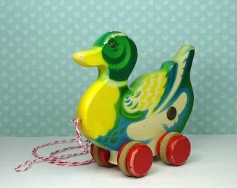 Vintage Verhofa duck pull toy 1940s 1950s wooden