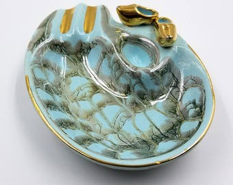 Delfts Aqua Blue and Gold Handpainted Ceramic Ashtray with Snuffer Hole