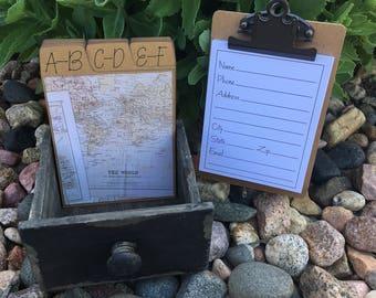 Address Box, Wedding Guest Book, Guest Book Alternative, Address Cards, Vintage, Travel, Map