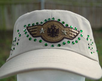 Khaki Cadet Hat with Military Style Insignia