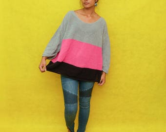 Oversized Pink Grey Black Striped Pullover Sweater