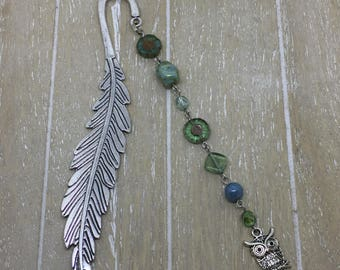 Bookmark blue/green owl