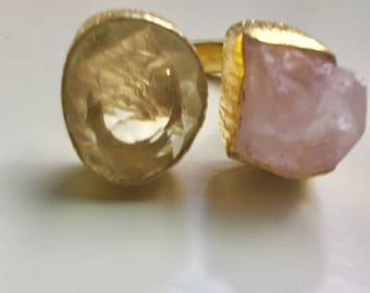 18 Karat Gold Plated Two Stone Citrine and Pink Quartz Ring