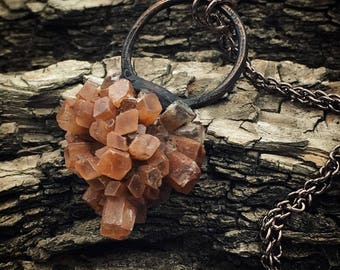 Aragonite Pendant | Electroformed Necklace | Copper Jewelry
