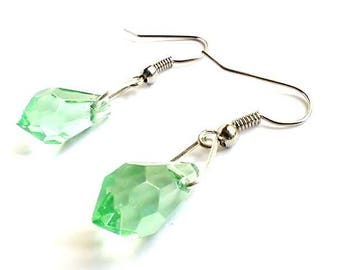 Earrings drops green transparent