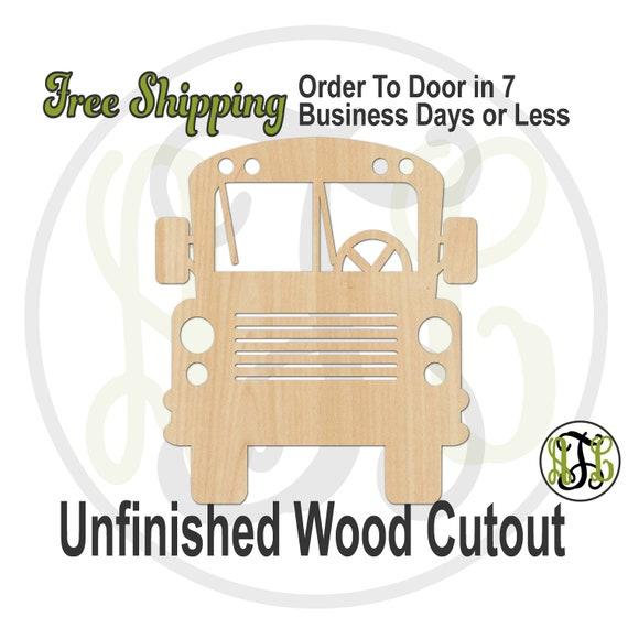 School Bus Front Outline- 70013- School Cutout, unfinished, wood cutout, wood craft, laser cut wood, wood cut out, Door Hanger, wooden sign