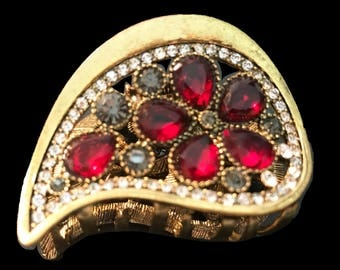 New Gold With Red Ruby Crystal  Floral 2'' Hair Claw Clip