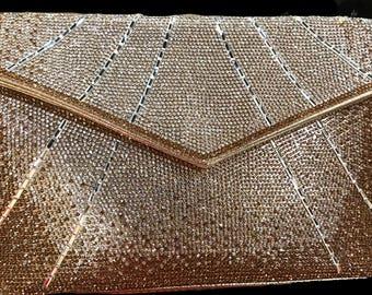 New Gold  Flap & Clear Rhinestone  Evening Clutch Handbag