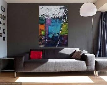 "Tetris, abstract acrylic painting, mix technic, 24""X36"""