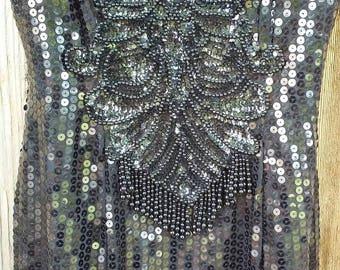 Black Sequined Formal Mike Benet Formals Vintage Prom