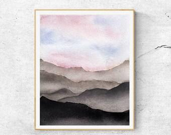 Fine Art Print, Contemporary Art, Watercolor Mountain Sunset Painting, Gray Mountains, Abstract Art, Modern  Art, Blue Grey Abstract Art,