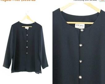 On sale Vintage black blouse. Long sleeve. Minimalist blouse. Black shirt. Womens blouse.