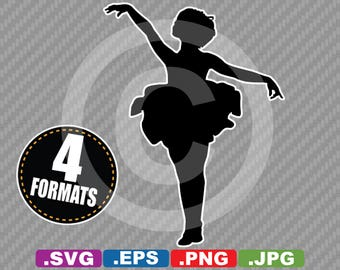 Young Ballerina / Ballet Silhouette Clip Art - SVG cutting file Plus eps (vector), jpg, & png