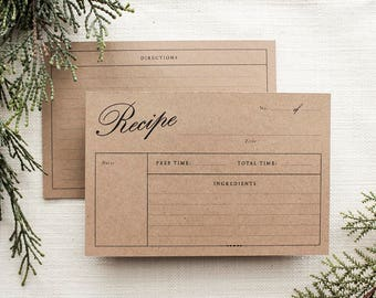 Recipe Card Double-sided Template Printable | Digital Download