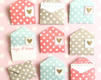 Love notes for Valentine's Day - 1st paper wedding anniversary - 9 mini envelopes with card inserts - lunch box note - sealable - romantic