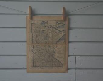 1929 Vintage Minnesota Map