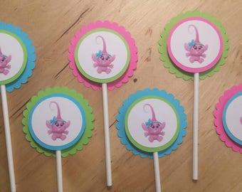 Baby Princess Poppy/Trolls cupcake toppers /set of 12