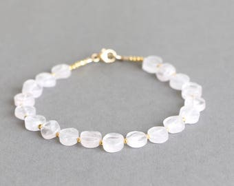 Rose Quartz Bracelet Beaded Bracelet Stacking Bracelet Gemstone Bracelet Gift for Her