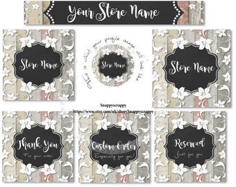 Etsy Banner Set, Watercolour florals, Premade Deisgn, Wood and Lace