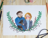 Illustrated custom made portrait | paperart | cut-out