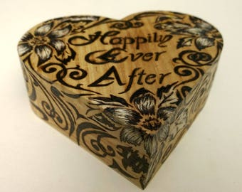 Heart shaped wooden jewelry box with flower designs / wood burning /pyrography / happily ever after