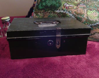 FREE shipping..Old Green Metal Box