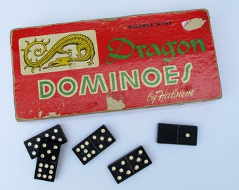 1950's Dragon Dominoes by Halsam set no. 920 55 pieces, vintage dragon dominoes, mixed media vintage game pieces