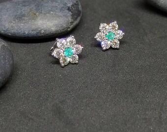 Brazilian Paraiba Tourmaline and Diamond Halo Stud Earrings