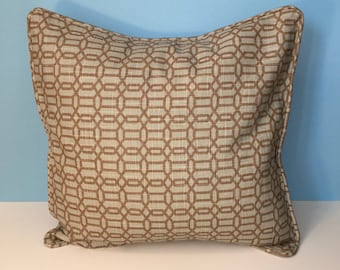 Decorative Sage and Beige Geometric Corded Pillow Cover