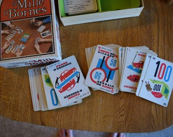 Vintage 1971 Mille Bornes French Card Game Parker Brothers Complete Good Condition Instructions Included Green Tray