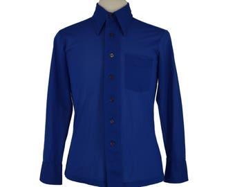 70s Mens Shirt, 1970s Royal Blue Dress Shirt, Electric Blue Button Down Mens Shirt, Power Shirt, Big Collar, Butterfly Collar, Medium