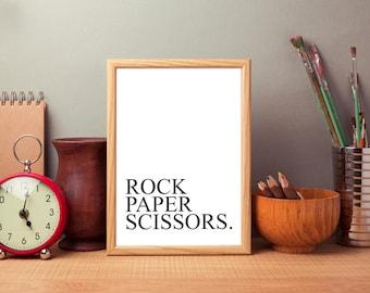 Rock Paper Scissors - Wall Art Prints, Quote Print, Wall Decor, Minimalist Poster, Minimalist Print, Modern Art, Family Print, Definition