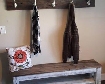 Entryway bench, Farmhouse storage bench, shoe storage, bench with shelf, storage bench, mudroom, distressed