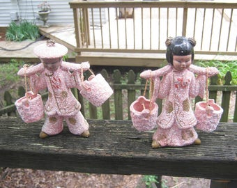 Asian Man And Woman Figurines With Buckets, Pink Nubby Finish, 1950's Collectible, Oriental Decor, Oriental Figurines