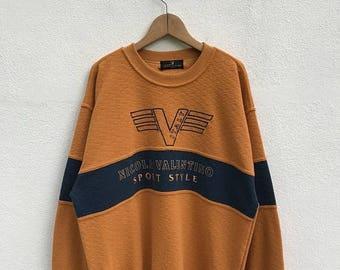 "20% OFF Vintage Nicola Valentino Italy Sport Style Sweatshirt / Nicola Valentino Color Block / Nicola Valentino Pullover / Armpit 23"""