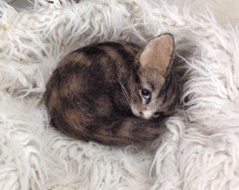 Needle Felted Kitten Cat Tabby Reserved