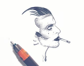 David Bowie Minimalist Ink Drawing // David Bowie Poster // David Bowie Scary Monsters Artwork