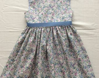 4-Year-Old Girls Blue Classic Floral Party Dress