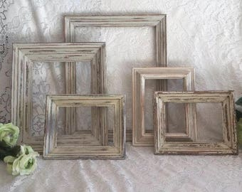 Farmhouse wall decor distressed frames Lot of 5 cream hand painted Vintage
