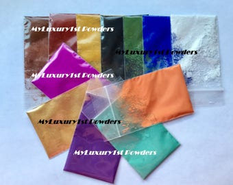 Lot of 12 1g MICA & MATTE SAMPLES Soap Pigment Oxide Titanium Ultramarine Powder