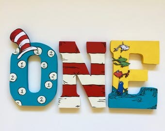 Dr Seuss - Cat in the Hat - Home Decor - Party Decorations - Wood letters - Custom Letters