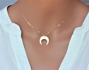 Upside down moon choker - gold horn choker - double horn necklace - double horn choker - Moon Necklace -  crescent necklace - white choker