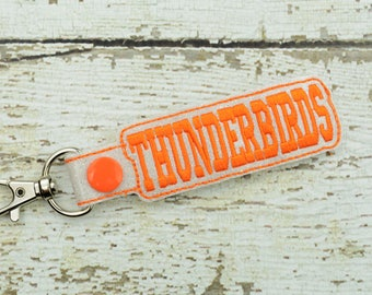 Thunderbirds Keychain - Bag Tag - Small Gift - Gift for Her - Thank You Gift - Bag Accessory - Zipper Pull - Team Spirit