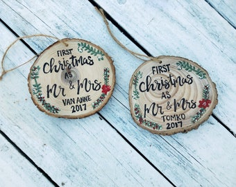 First Christmas as Mr Mrs Ornament Wood Slice Personalized Hand Lettered Rustic Tree Ornament, First Christmas Married, First Xmas Together