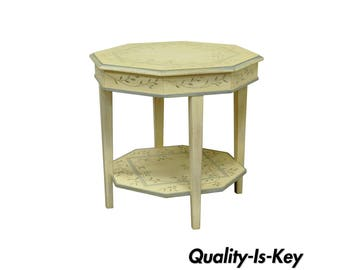 Vintage Drexel Country Diary Collection Painted Floral Occasional Side Accent Table