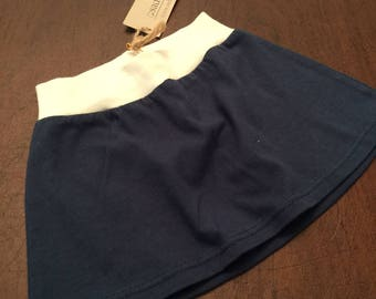 Organic Cotton Baby Clothes Handmade Navy Blue Skirt with Cream 9-12mo